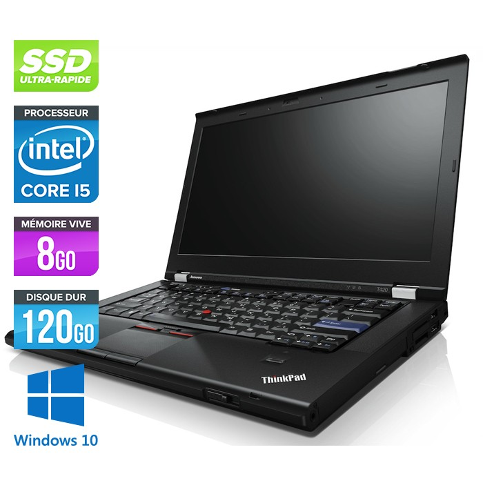 ordinateur portable occasion lenovo thinkpad t420 core i5 8go 120go ssd webcam windows. Black Bedroom Furniture Sets. Home Design Ideas