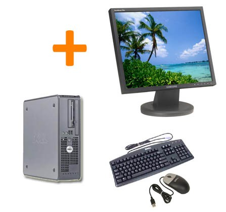 PC BUREAU DELL OPTIPLEX GX755 SFF + Ecran TFT 17""