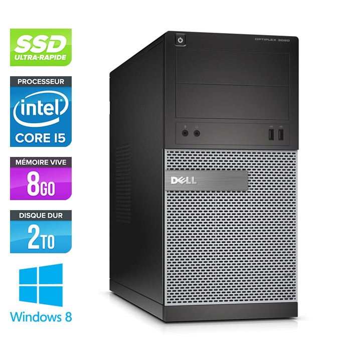 Dell Optiplex 3020 Tour - Core i5 - 8Go - 120Go SSD / 2To HDD