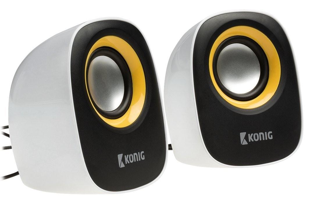 Enceintes PC - Haut-parleurs König CS20SPS100YE - 2.0 4 W - Noir / Jaune