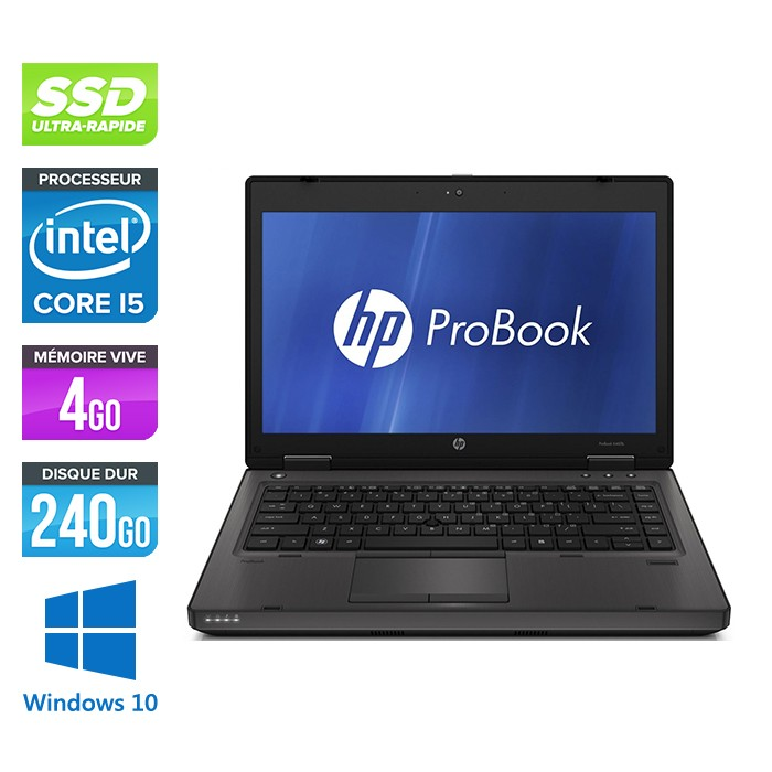 HP ProBook 6460B - Core i5 - 4 Go - 240 Go SSD - Webcam - Windows 10