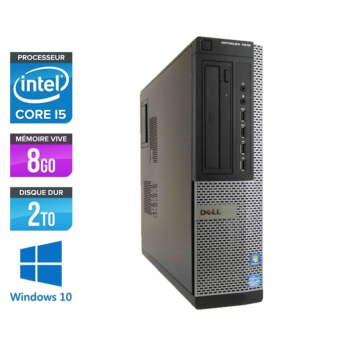 Pc bureau reconditionné - Dell Optiplex 7010 DT - Core i5 - 8Go - 2To HDD - Windows 10