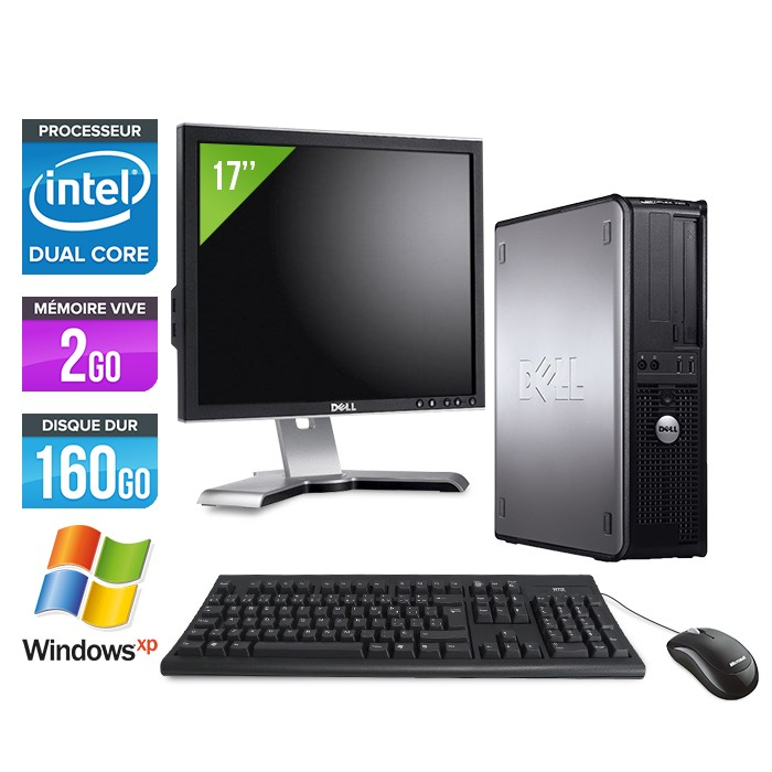 Dell Optiplex 760 + Ecran 17'' - Core Duo - 2Go - 160Go - XP Professionnel