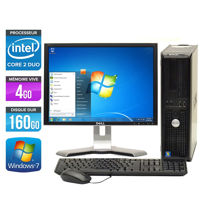 Dell Optiplex 780 Desktop - Core 2 Duo E7500 - Ecran 19 pouces