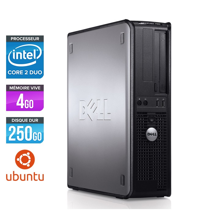 Dell Optiplex 780 Desktop - E7500 - 4Go - 250Go - Ubuntu / Linux