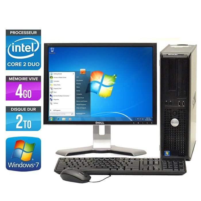 Dell Optiplex 780 Desktop - Core 2 Duo E7500 - 2To - Ecran 19 pouces