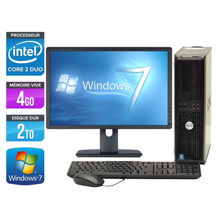 Dell Optiplex 780 Desktop - Core 2 Duo E7500 - 2To - Ecran 20 pouces