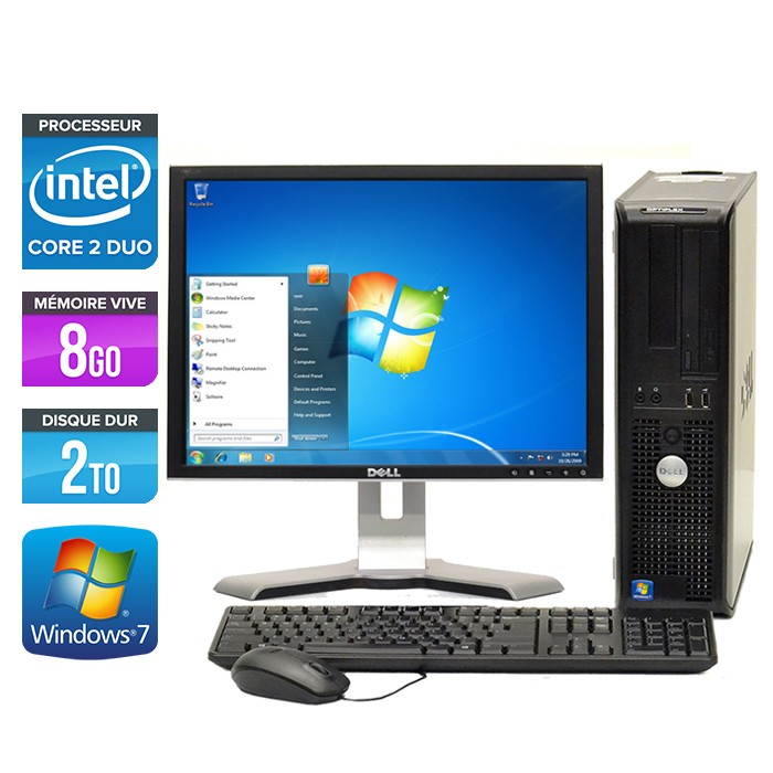 Dell Optiplex 780 Desktop - Core 2 Duo E7500 - 8Go - 2To - Ecran 19 pouces