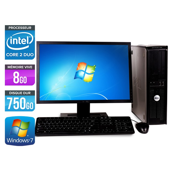 Dell Optiplex 780 Desktop - Core 2 Duo E7500 - 8Go - 750Go - Ecran 22 pouces
