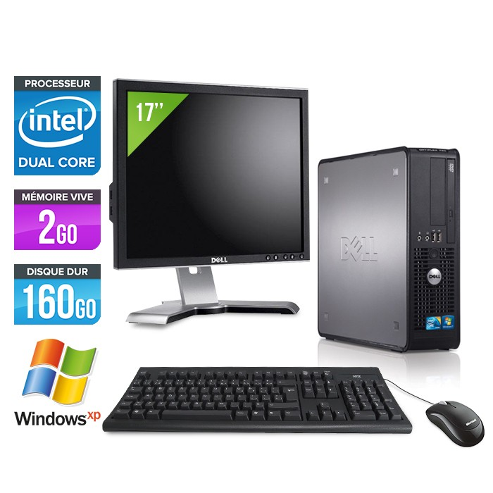"Dell Optiplex 780 + Ecran 17"" - E5300 - 2Go - 160Go - XP Professionnel"