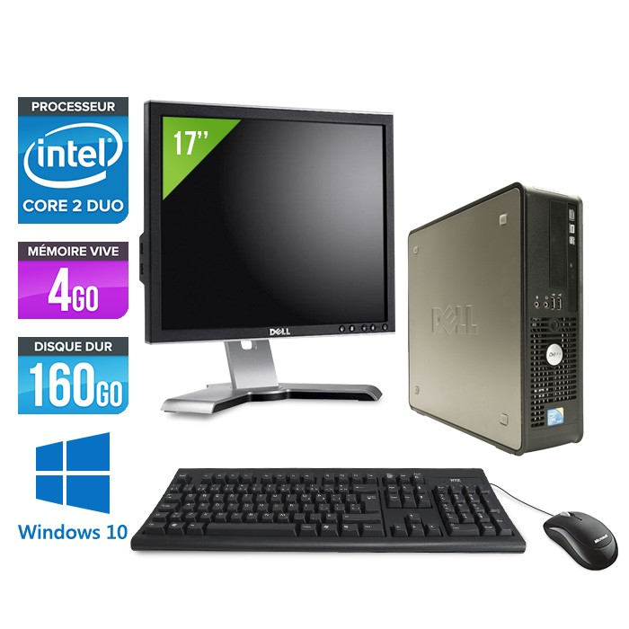 Dell Optiplex 780 SFF + Ecran 17'' - Core 2 Duo E7500 - 4Go - 160Go - Windows 10
