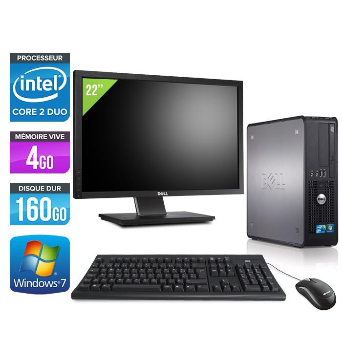 Dell Optiplex 780 SFF + Ecran 22'' - Core 2 Duo E8500 - 4Go - 160Go