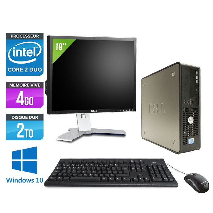 Dell Optiplex 780 SFF + Ecran 19'' - Core 2 Duo E7500 - 4Go - 2To - Windows 10