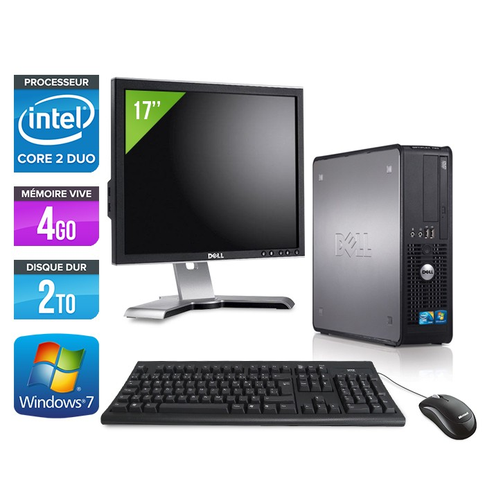 Dell Optiplex 780 SFF + Ecran 17'' - Core 2 Duo E8500 - 4Go - 2To
