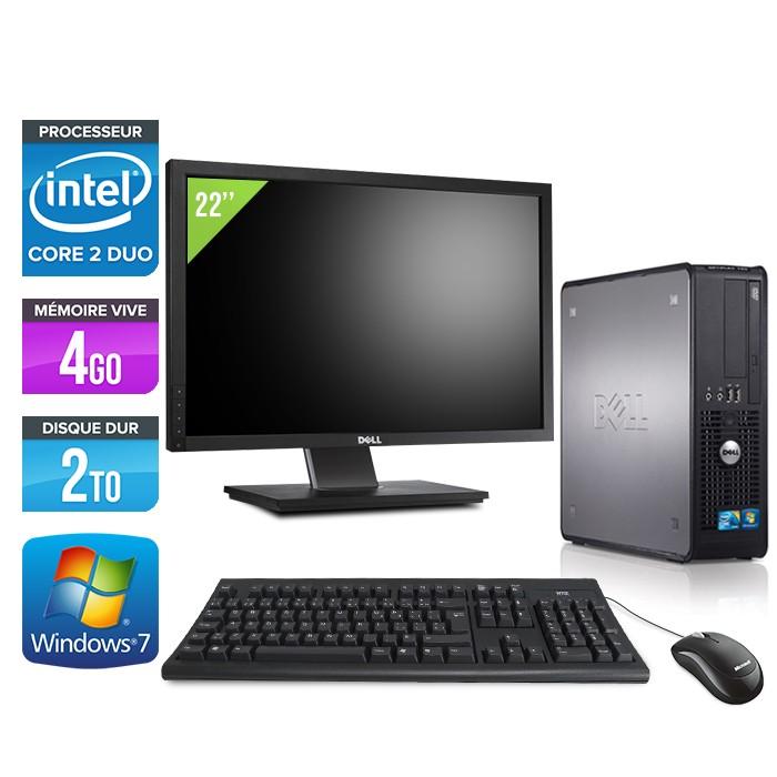 Dell Optiplex 780 SFF + Ecran 22'' - Core 2 Duo E7500 - 4Go - 2To