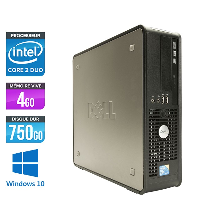 Dell Optiplex 780 SFF - Core 2 Duo E7500 - 4Go - 750Go - Windows 10