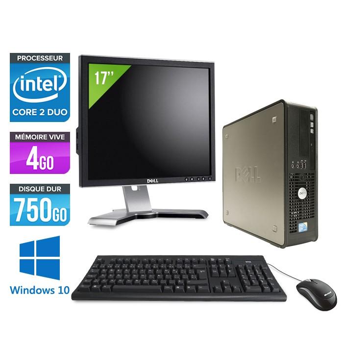 Dell Optiplex 780 SFF + Ecran 17'' - Core 2 Duo E7500 - 4Go - 750Go - Windows 10