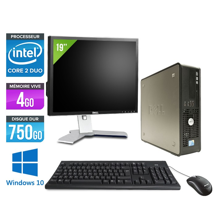 Dell Optiplex 780 SFF + Ecran 19'' - Core 2 Duo E7500 - 4Go - 750Go - Windows 10