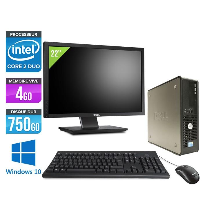 Dell Optiplex 780 SFF + Ecran 22'' - Core 2 Duo E7500 - 4Go - 750Go - Windows 10