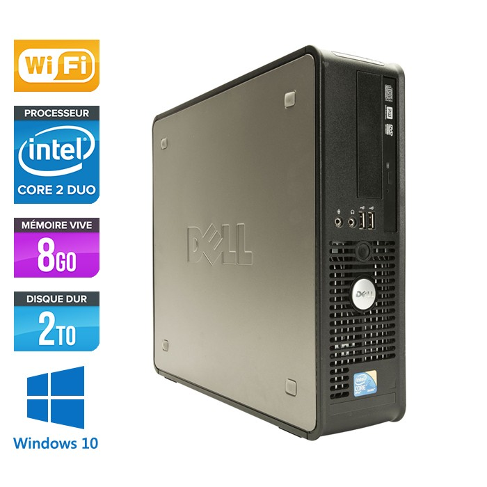 Dell Optiplex 780 SFF - E7500 - 8Go - 2To - Wifi - Windows 10