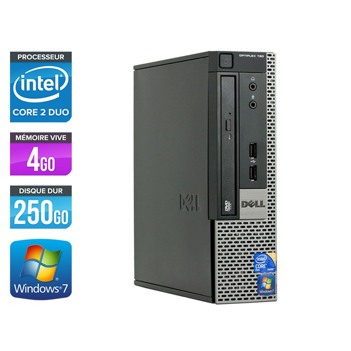 Dell Optiplex 780 USFF - Core 2 Duo E7500 - 4Go - 250Go