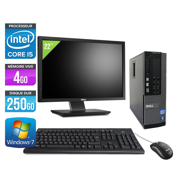 Dell Optiplex 790 SFF - Core i5 - 4Go - 250Go - Ecran 22""