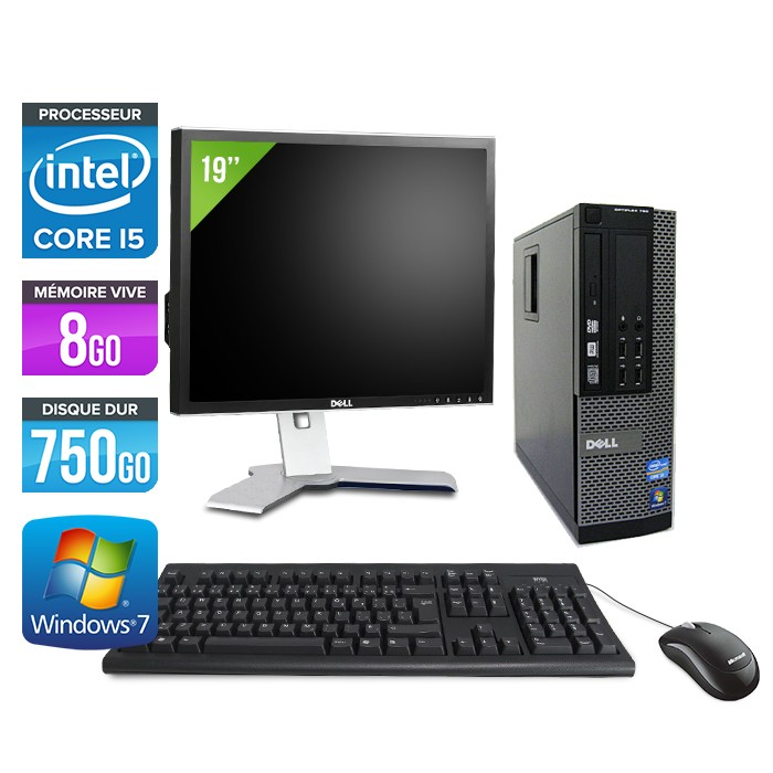 Dell Optiplex 790 SFF - Core i5 - 8Go - 750Go - Ecran 19""