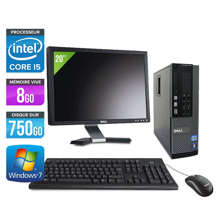 Dell Optiplex 790 SFF - Core i5 - 8Go - 750Go - Ecran 20""