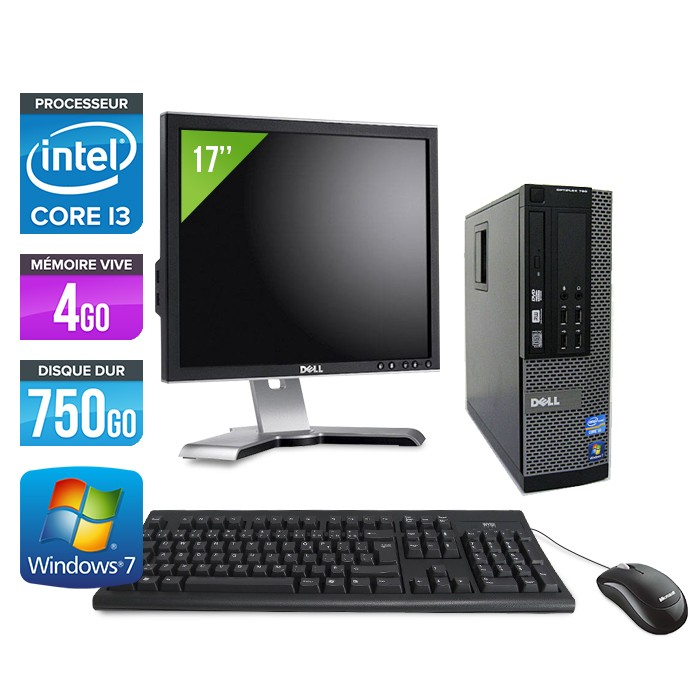 Dell Optiplex 790 SFF - Core i3 - 4Go - 750Go - Ecran 17""