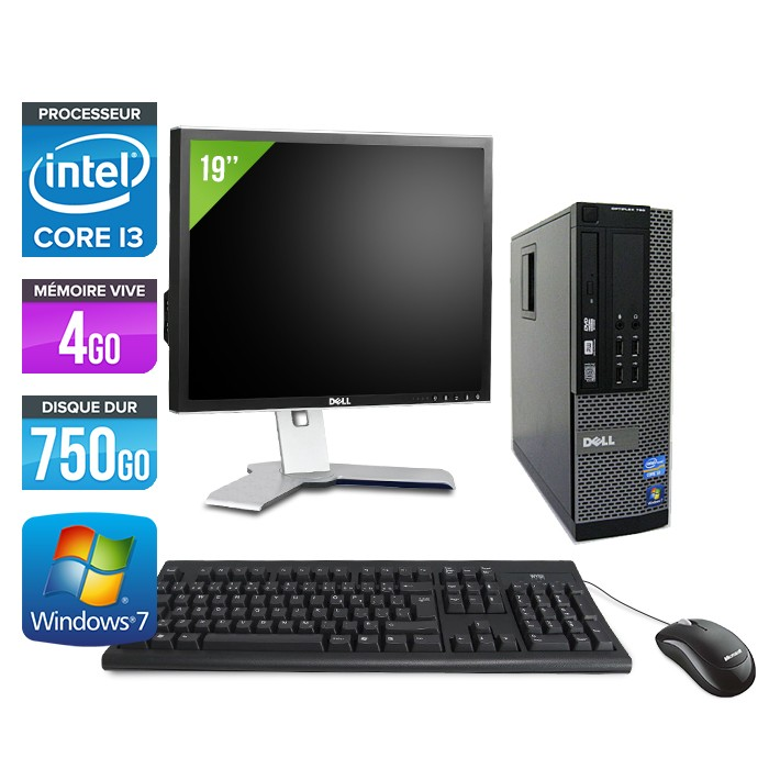 Dell Optiplex 790 SFF - Core i3 - 4Go - 750Go - Ecran 19""