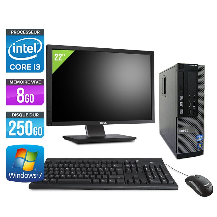Dell Optiplex 790 SFF - Core i3 - 8Go - 250Go - Ecran 22""