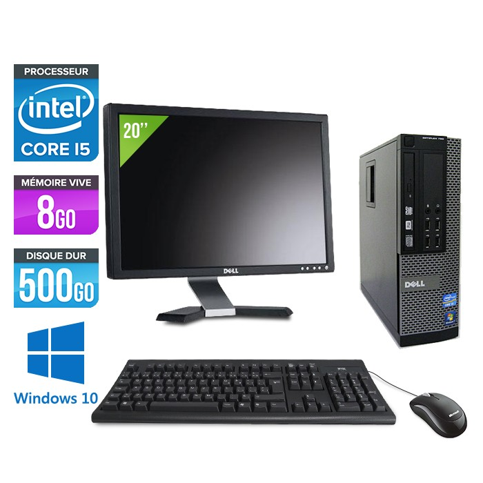 Dell Optiplex 790 SFF - Core i5 - 8Go - 500 go hdd- windows 10 - Ecran 20""