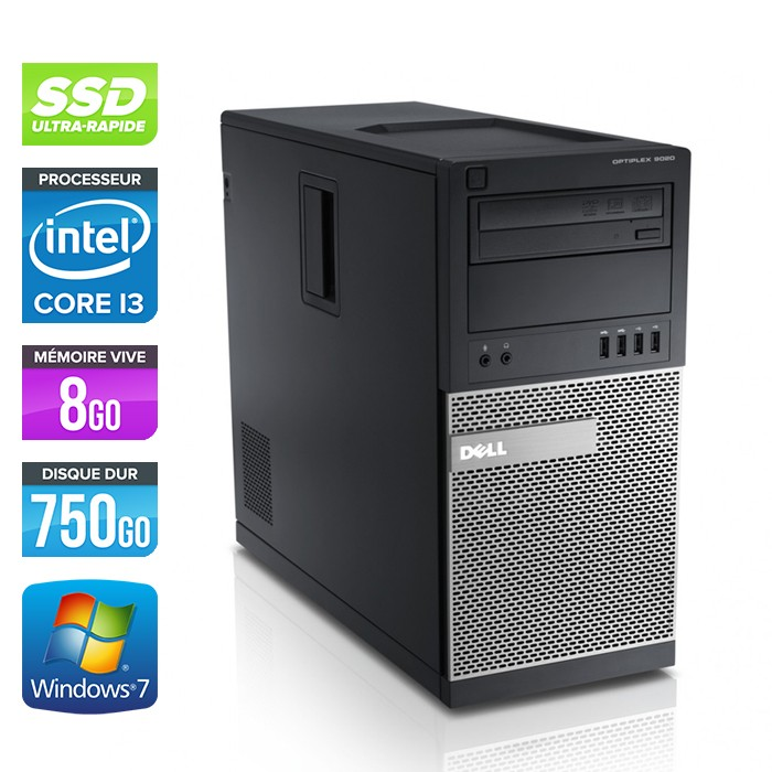 Dell Optiplex 790 Tour - Core i3 - 8Go - 120Go SSD / 750Go HDD