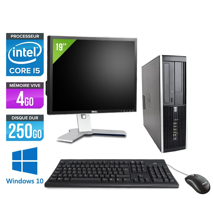 HP Elite 8100 SFF - Core i5 - 4Go - 250Go - Windows 10 - Ecran 19 pouces