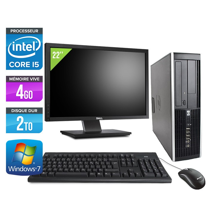 HP Elite 8100 SFF - Core i5 - 4Go - 2To - Ecran 22 pouces