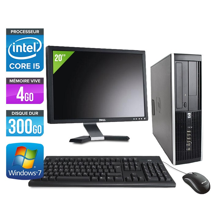 HP Elite 8100 SFF - Core i5 - 4Go - 300Go - Ecran 20 pouces