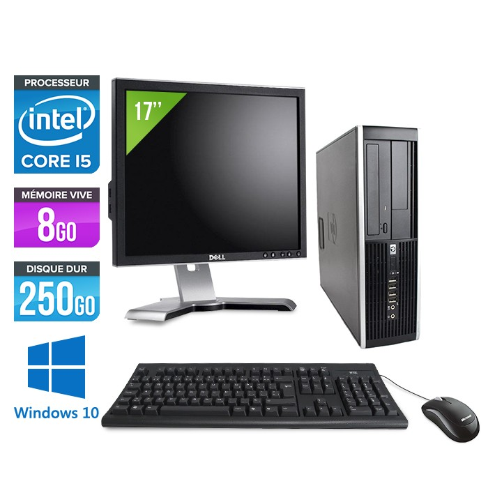 HP Elite 8100 SFF - Core i5 - 8Go - 250Go - Windows 10 - Ecran 17 pouces