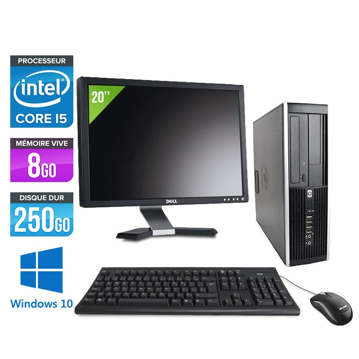 HP Elite 8100 SFF - Core i5 - 8Go - 250Go - Windows 10 - Ecran 20 pouces