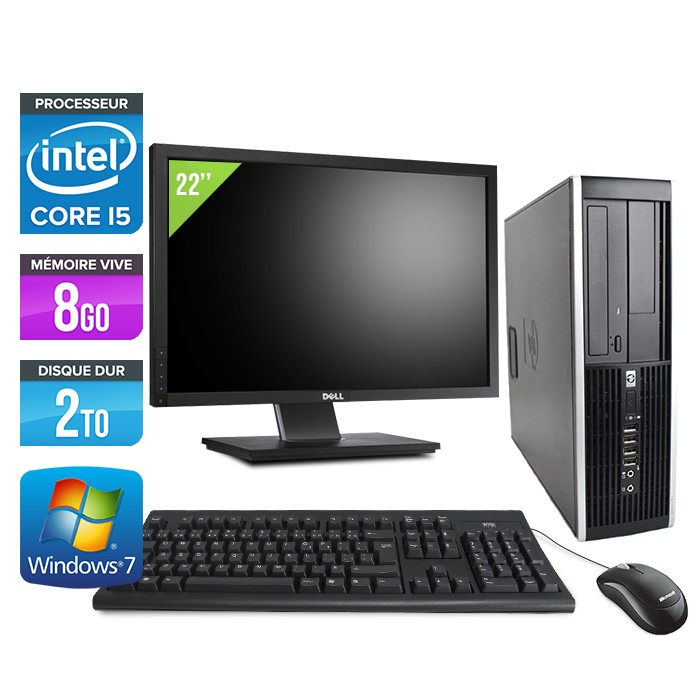 HP Elite 8100 SFF - Core i5 - 8Go - 2To - Ecran 22 pouces