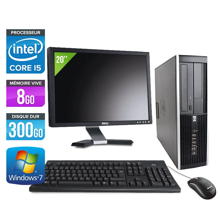 HP Elite 8100 SFF - Core i5 - 8Go - 300Go - Ecran 20 pouces
