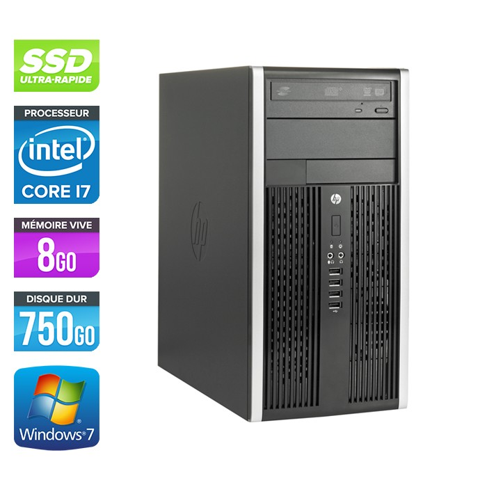 HP Elite 8200 Tour - Core i7 - 8Go - 120Go SSD / 750Go HDD