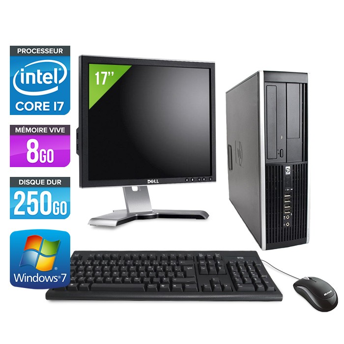 "HP Elite 8200 SFF + Ecran 17"" - Core i7 - 8Go - 250Go"
