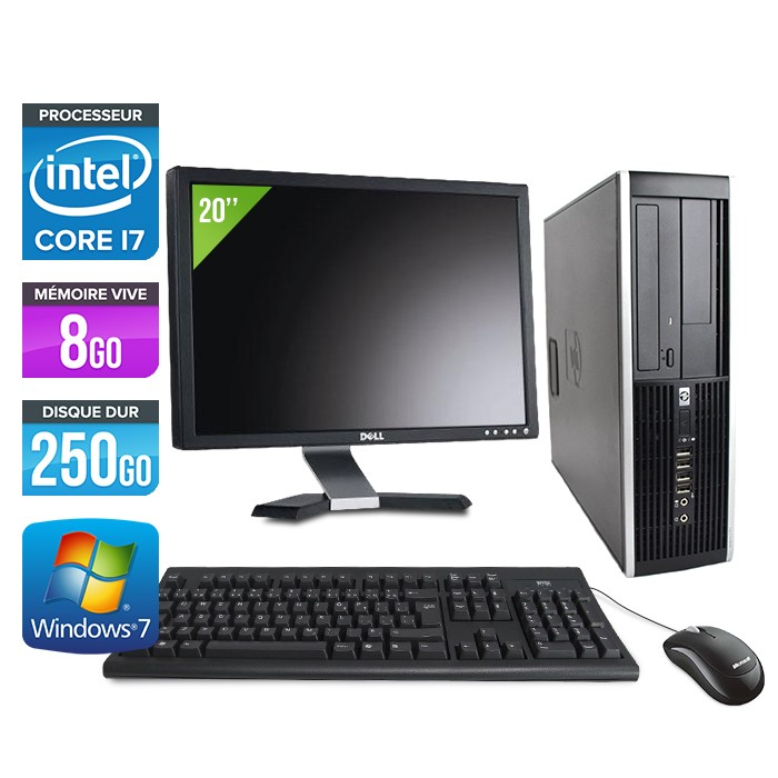 "HP Elite 8200 SFF + Ecran 20"" - Core i7 - 8Go - 250Go"