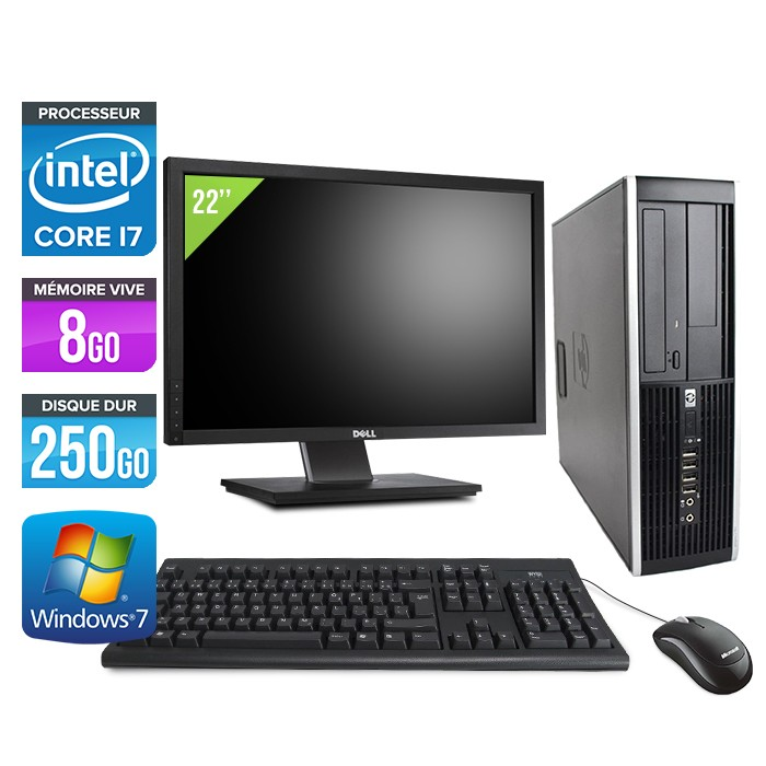 "HP Elite 8200 SFF + Ecran 22"" - Core i7 - 8Go - 250Go"