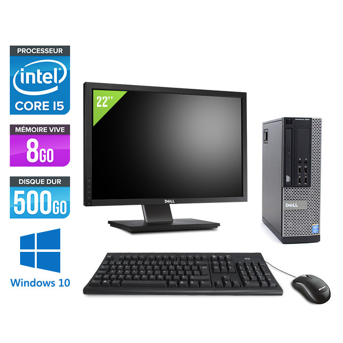 Pack Dell Optiplex 9020 SFF - i5 - 8 Go - HDD 500 Go - DVDRW - Windows 10  - Ecran 22