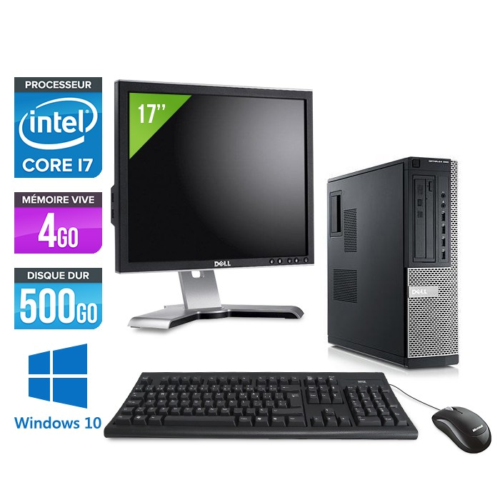 Dell Optiplex 990 + Ecran 17'' - Core i7 - 4Go - 500Go - Windows 10