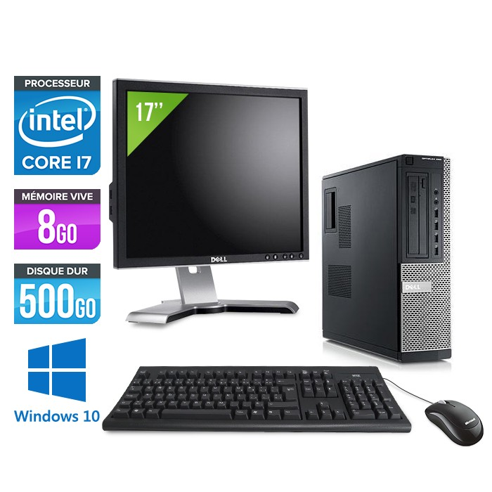 Dell Optiplex 990 + Ecran 17'' - Core i7 - 8Go - 500Go - Windows 10