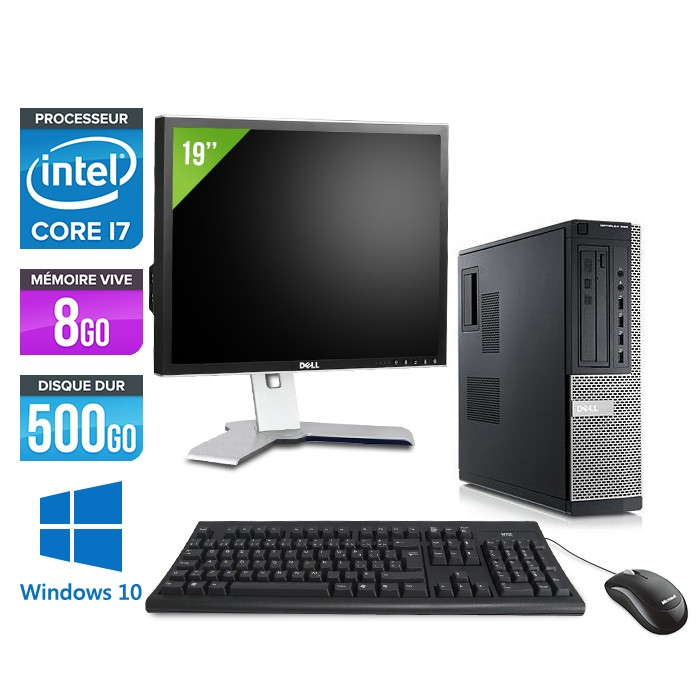 Dell Optiplex 990 + Ecran 19'' - Core i7 - 8Go - 500Go - Windows 10