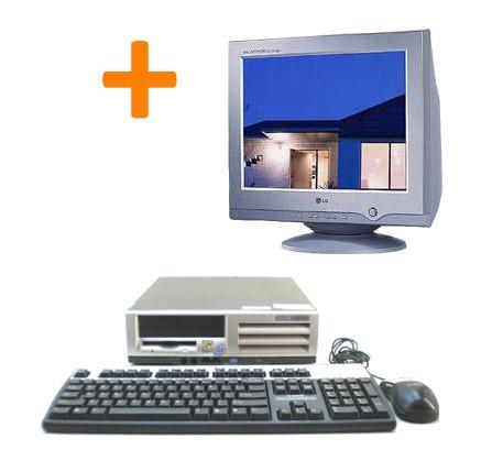 """Pack Pc de bureau occasion HP Compaq Evo D510 SFF + Ecran CRT 15"""""""