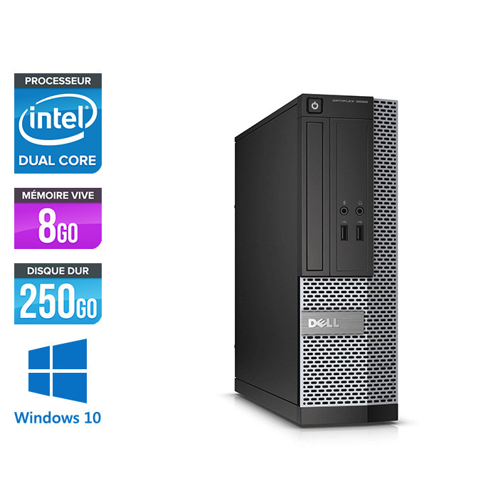 Pc de bureau reconditionné Dell Optiplex 3020 SFF - Pentium - 8Go - 250Go HDD - Windows 10